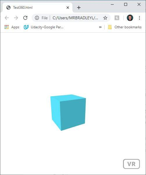 An A-Frame web page showing a box