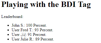 The HTML BDI Tag