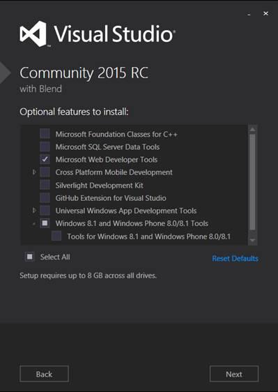 Visual Studio Community Edition Optional Features