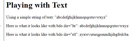 The HTML BDO Tag