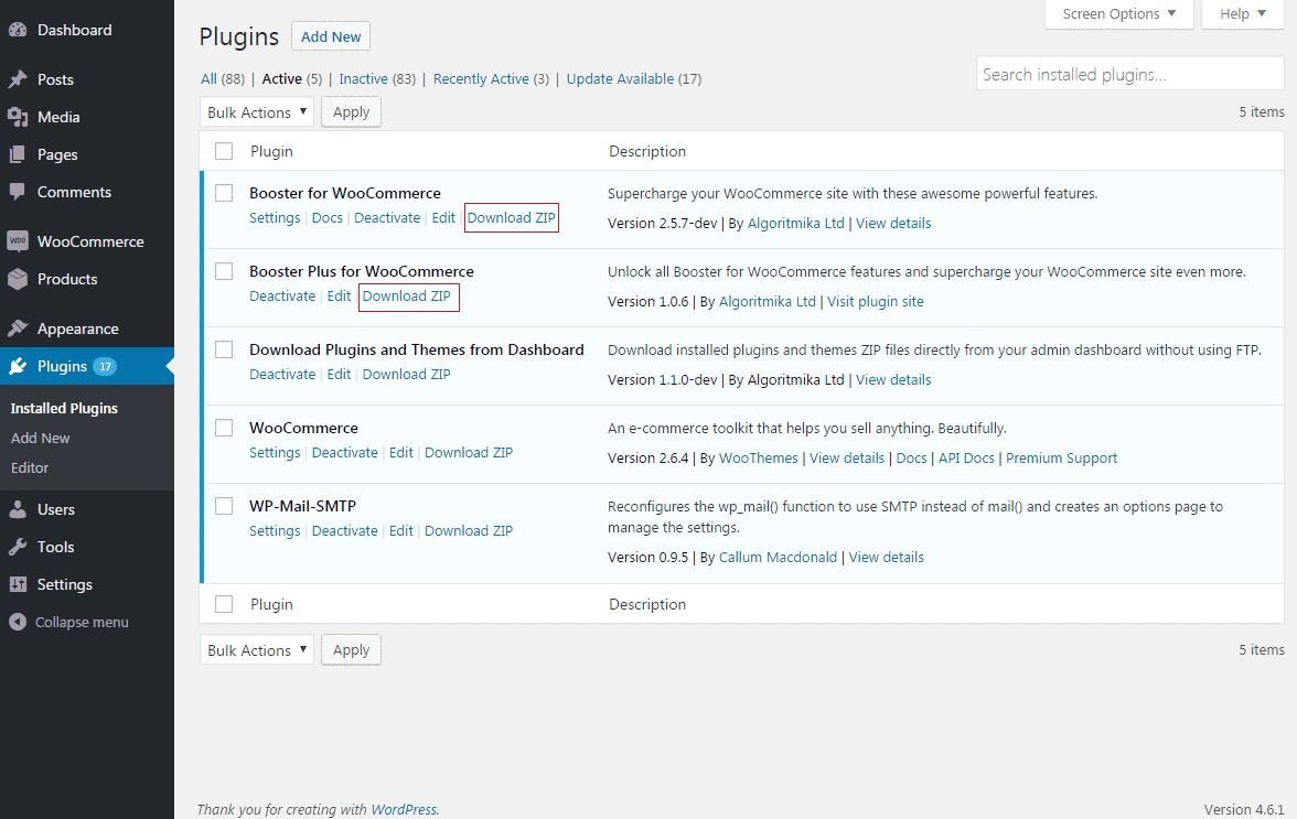 WordPress Plugin Dashboard