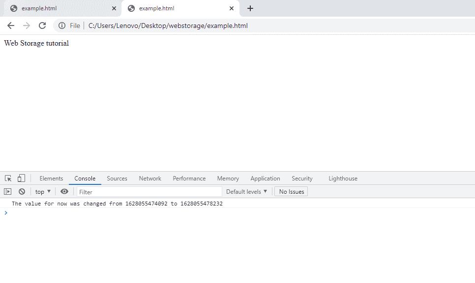 Web Storage Event Listener in HTML5