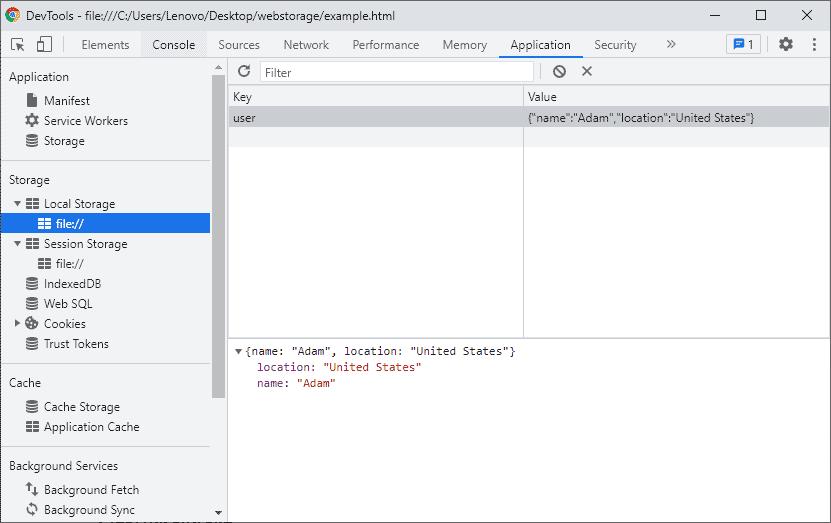 JSON HTML5 Web Storage